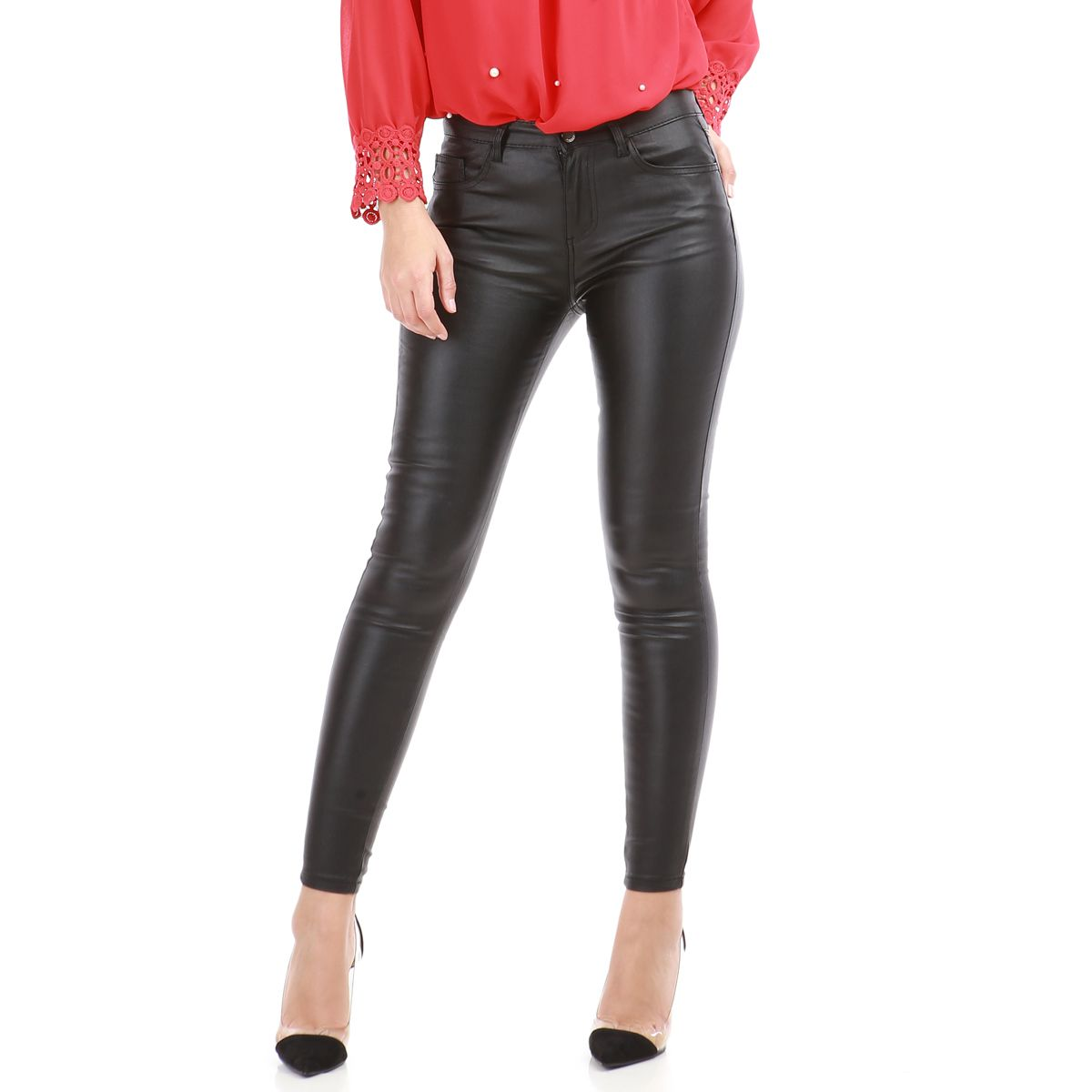 Pantalon slim noir simili cuir