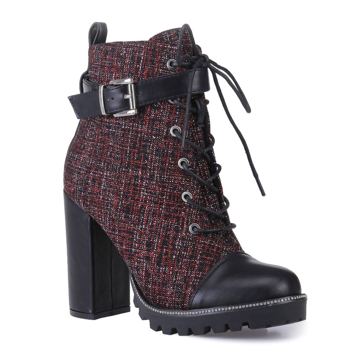Bottines en tweed rouges à talon