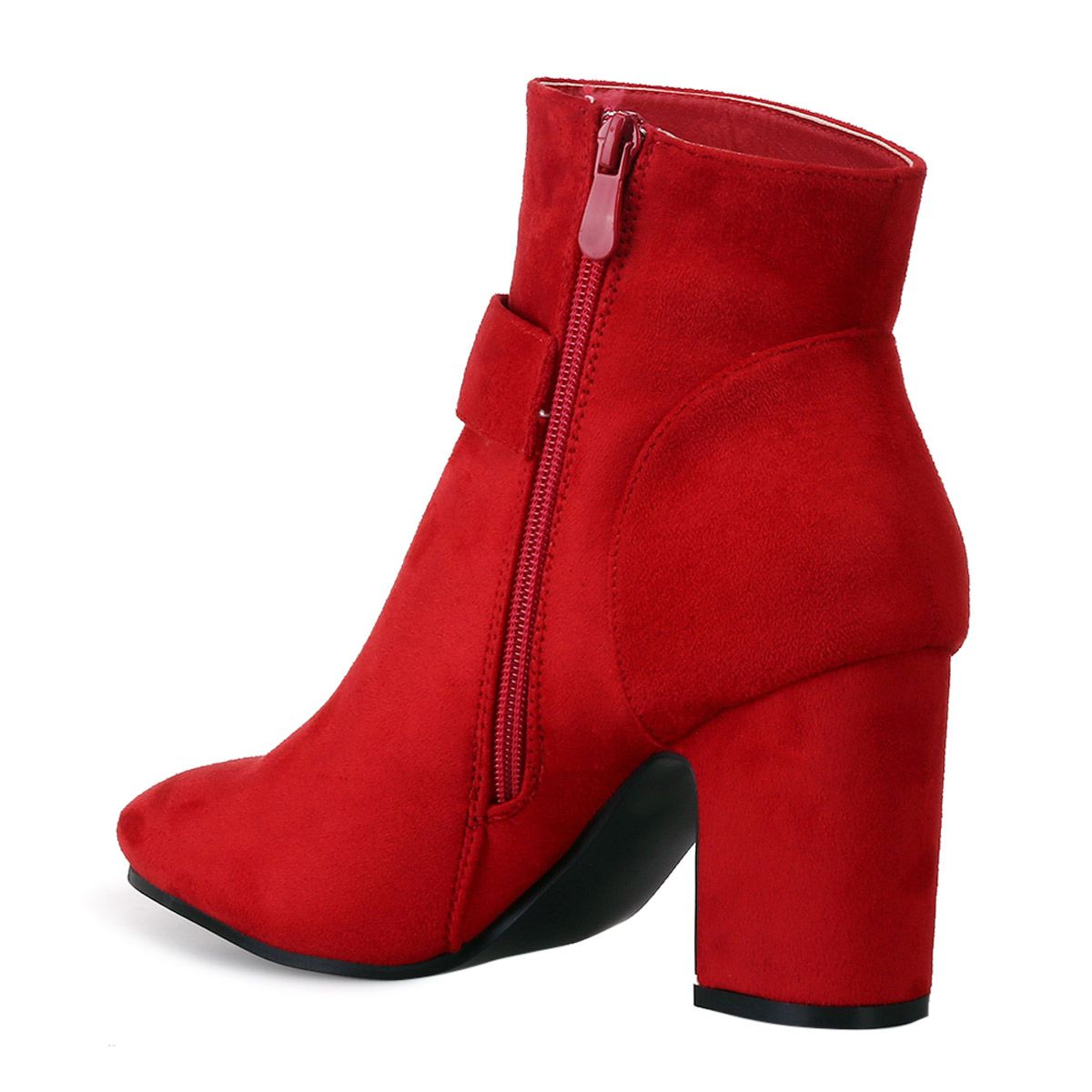 Bottines en suédine rouges à bijoux