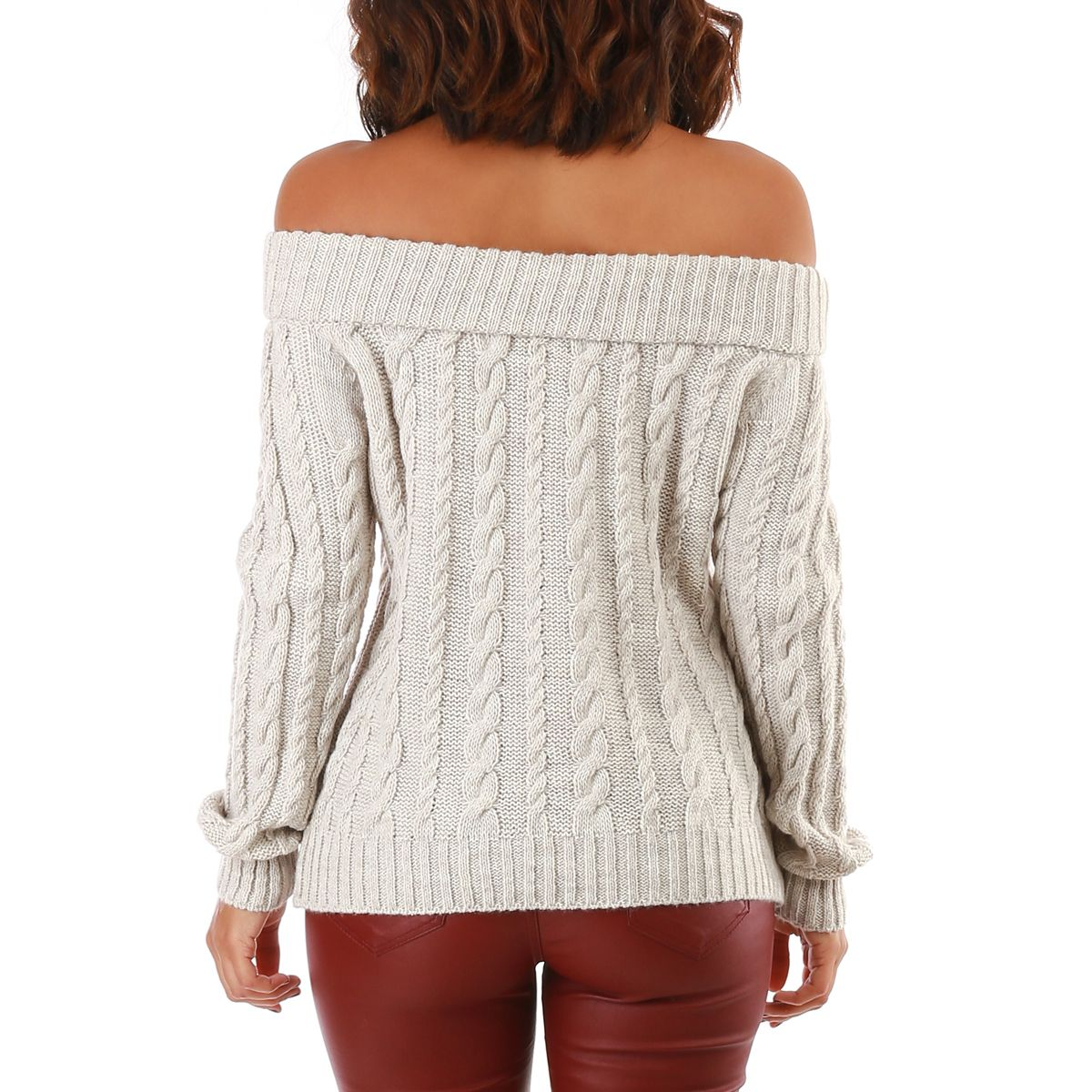 Pull gris maille et col bardot