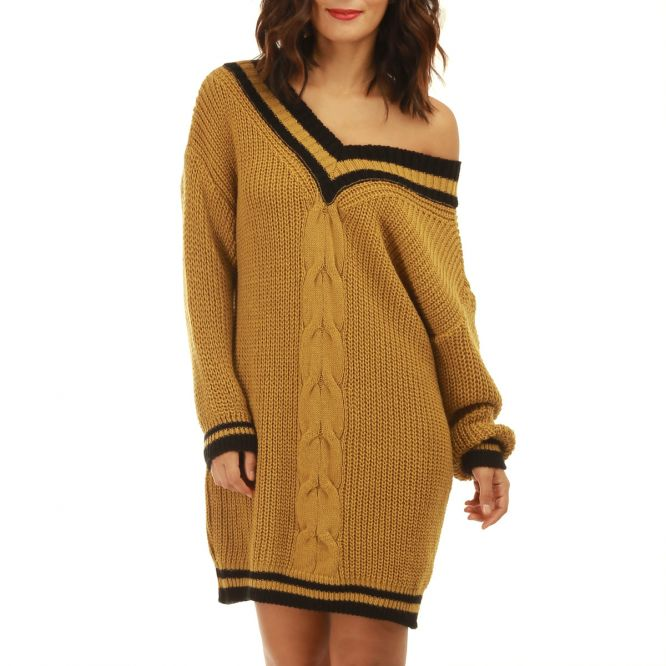 Cher Pas Robe Jaune Pull Moutarde Femme En Maille TkiwOZPXu