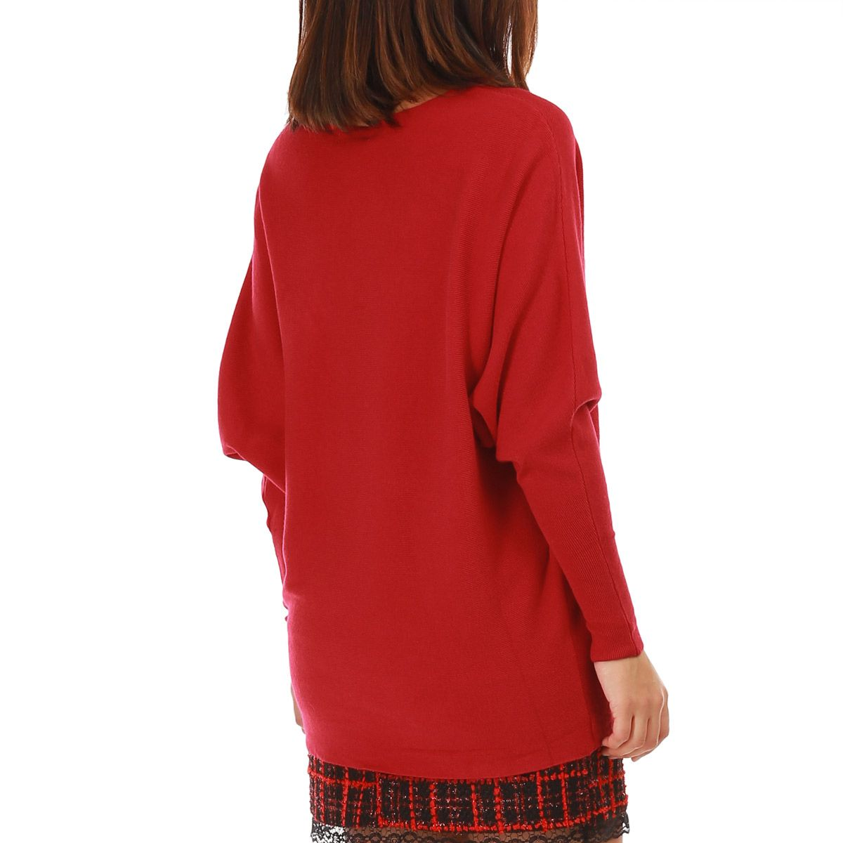 Pull rouge avec broderies à sequins