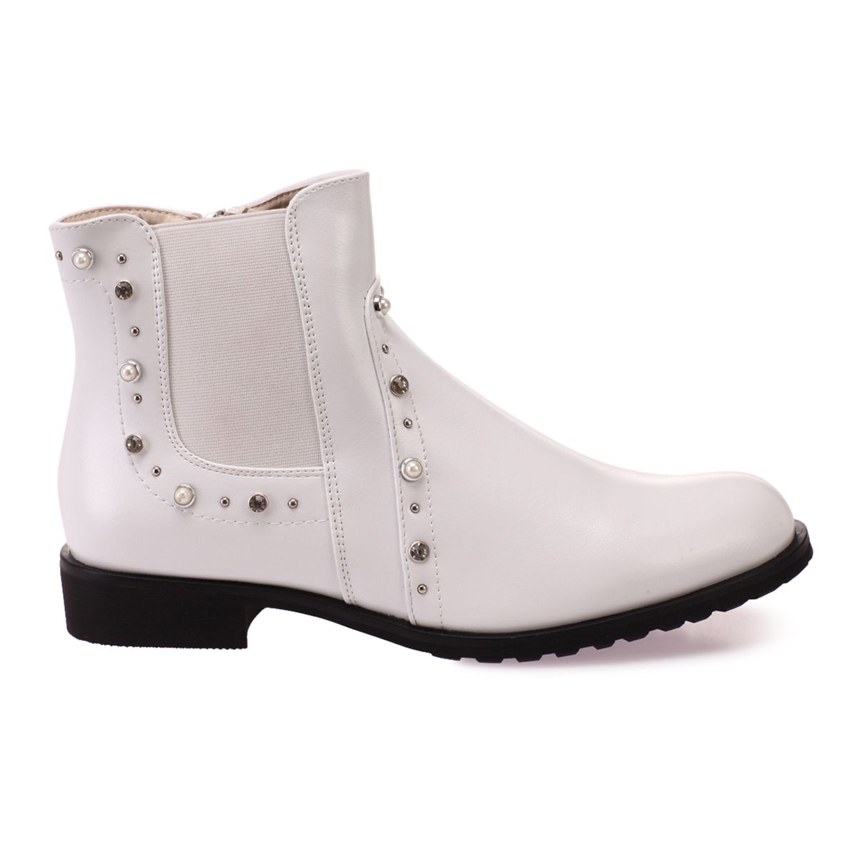 Bottines blanches style chelsea à perles et strass
