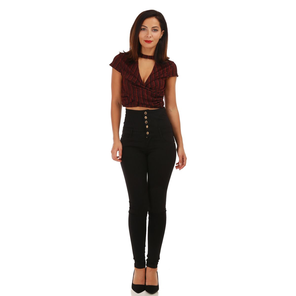 Crop top choker bordeaux en lurex
