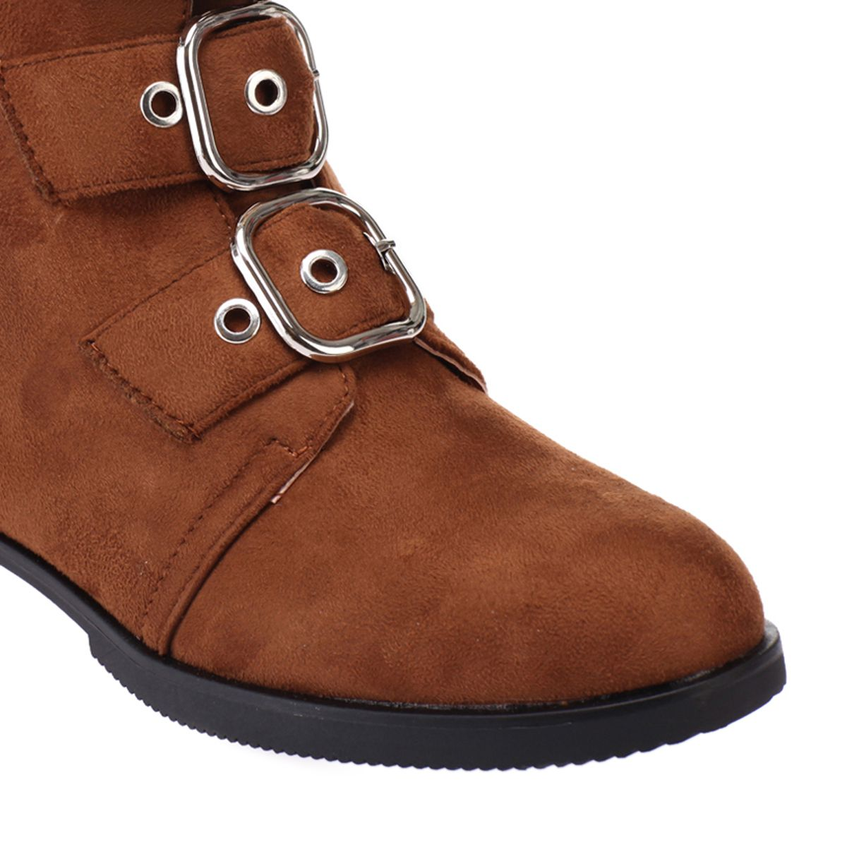Bottines camel en simili daim à boucles oversize
