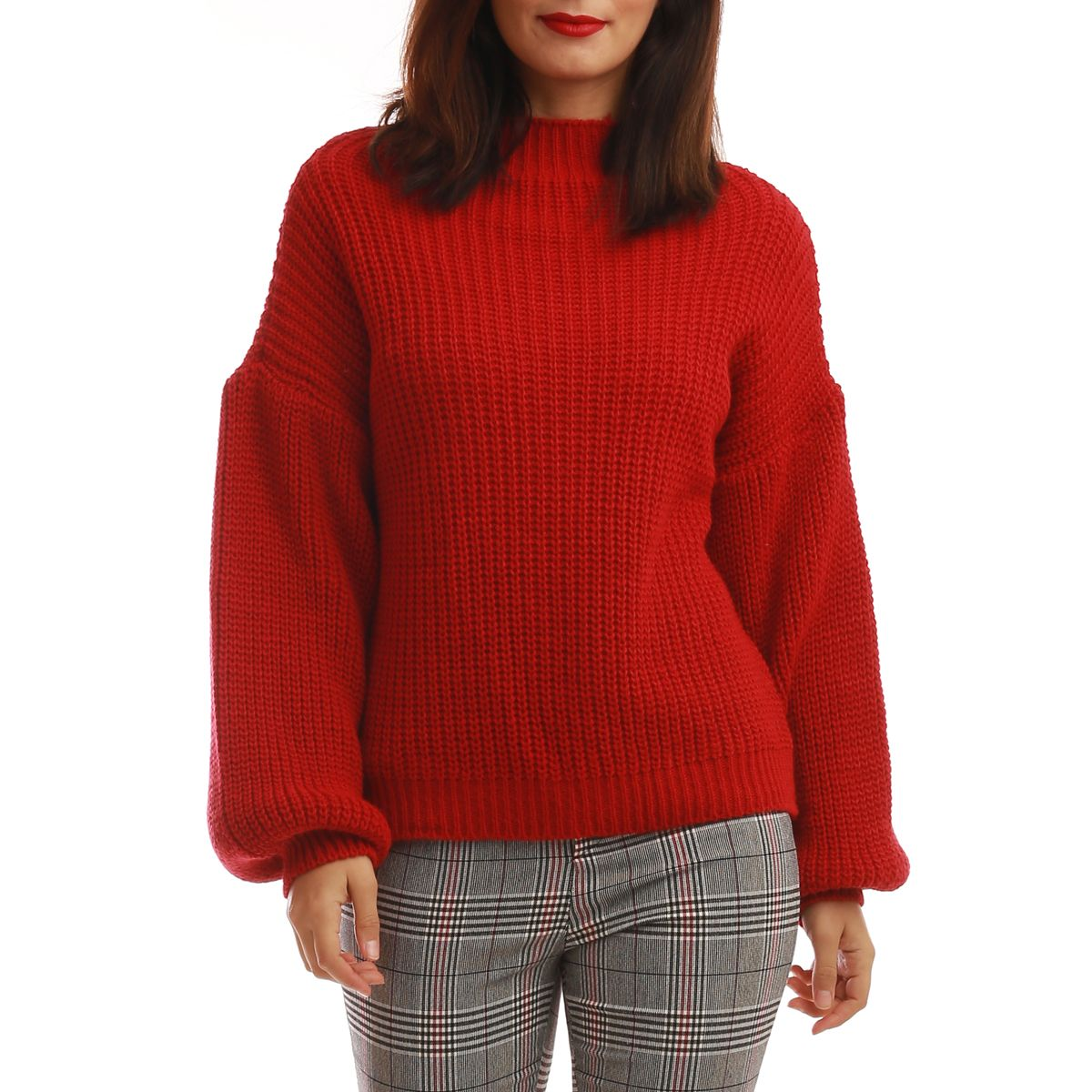 Pull rouge à manches bouffantes