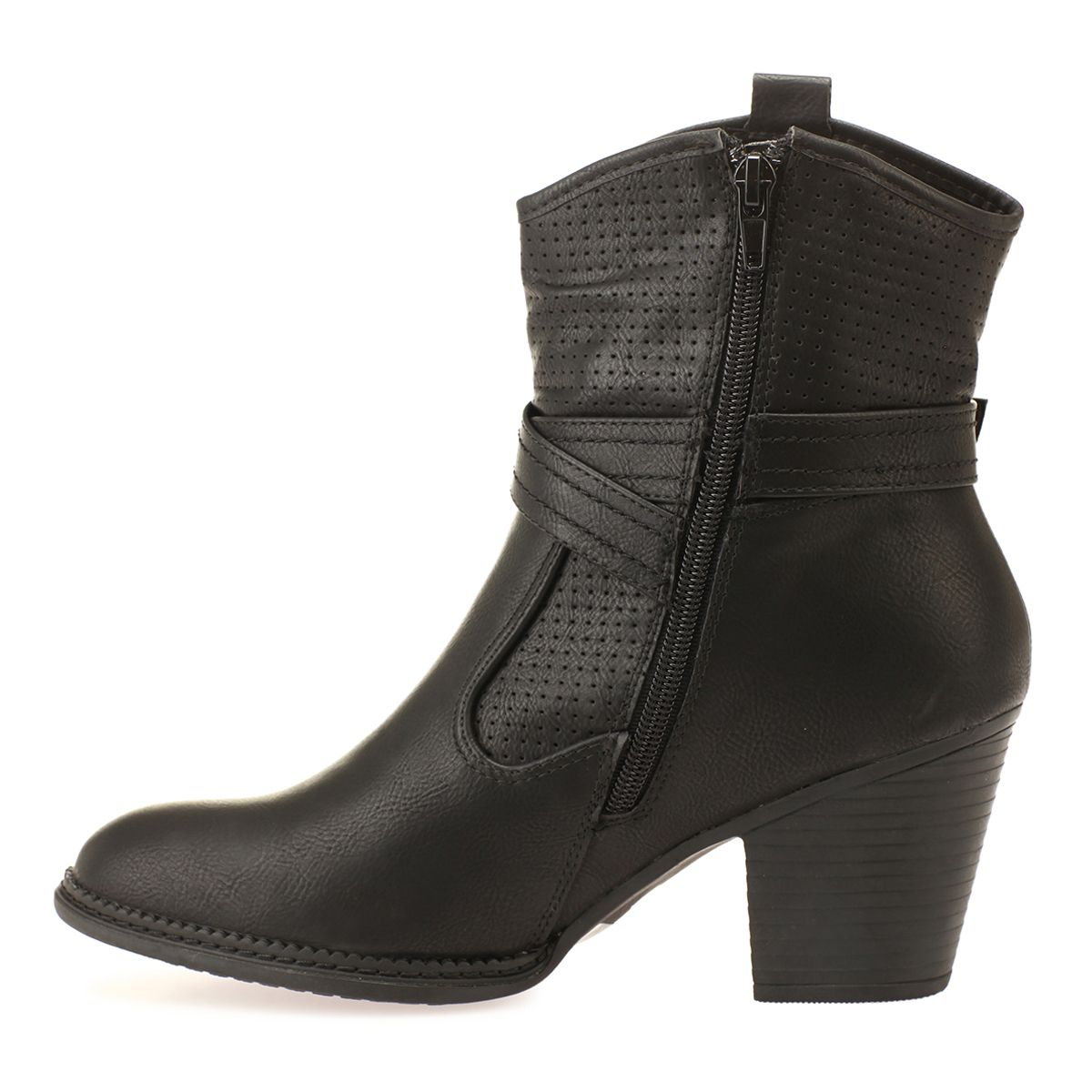 Bottines noires en simili cuir perforé