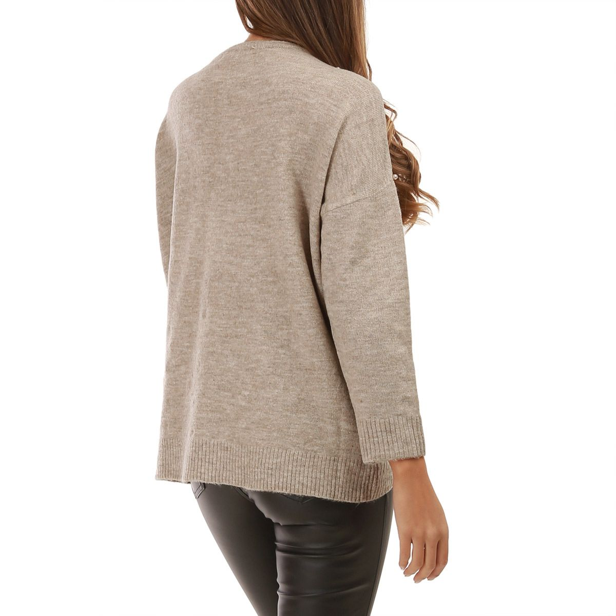 Pull taupe col rond à perles