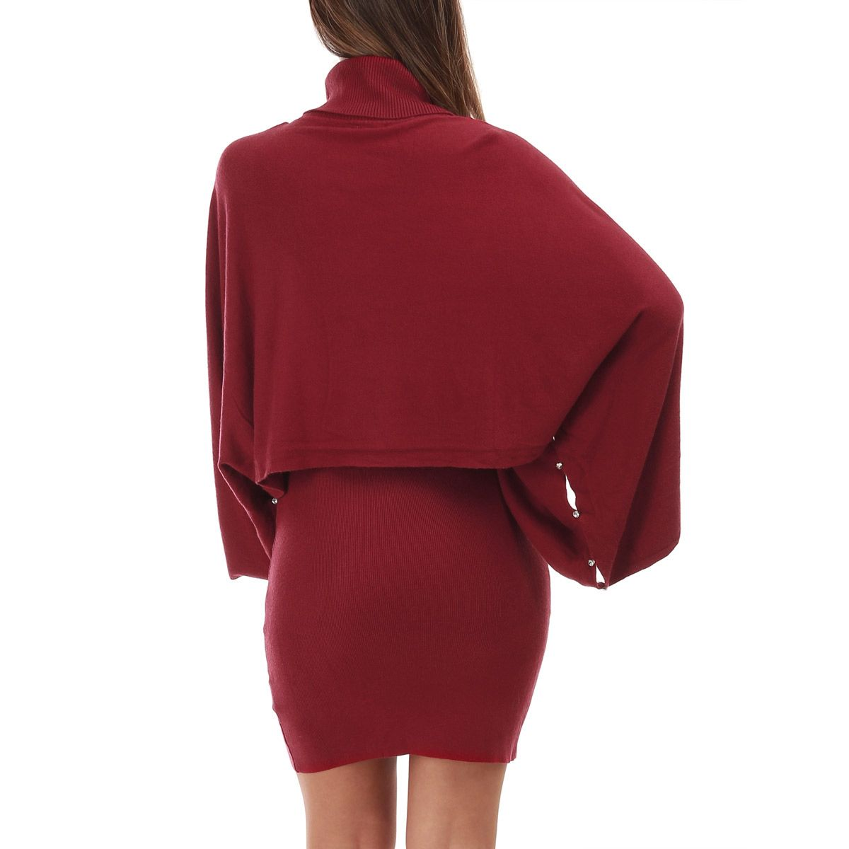 Ensemble robe et pull bordeaux superposables