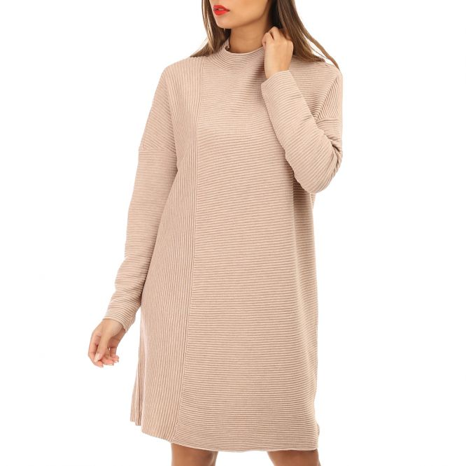 Robe pull taupe à col montant