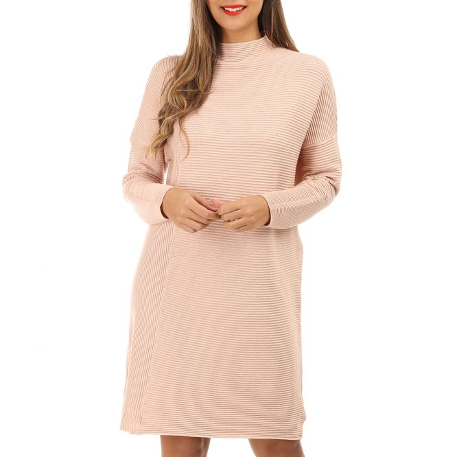 Robe pull rose à col montant