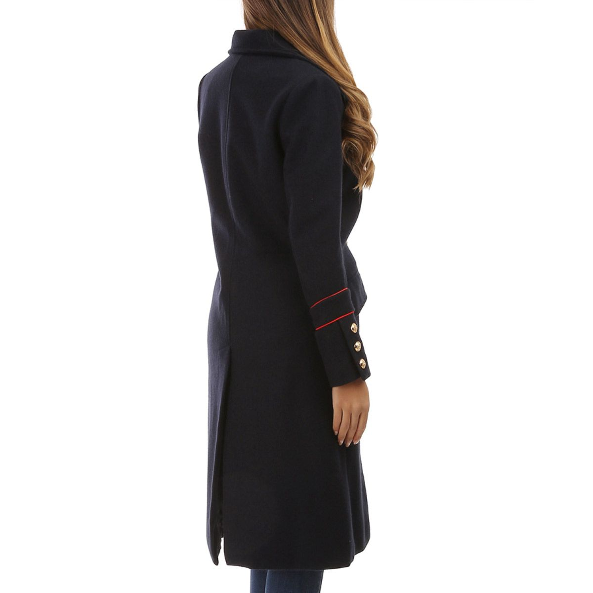 Manteau long bleu marine style officier