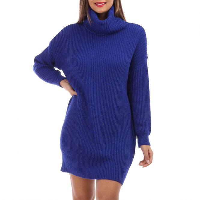 Robe pull bleue col roulé