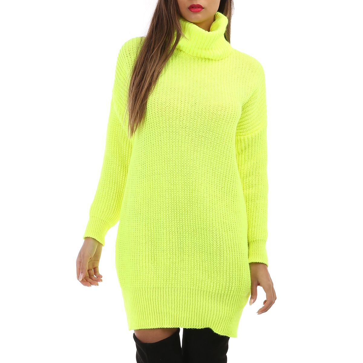 Robe pull jaune fluo col roulé
