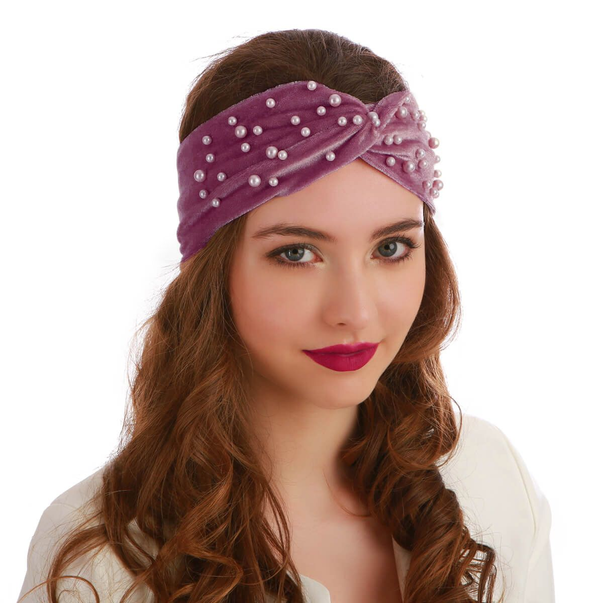 Headband bordeaux à perles
