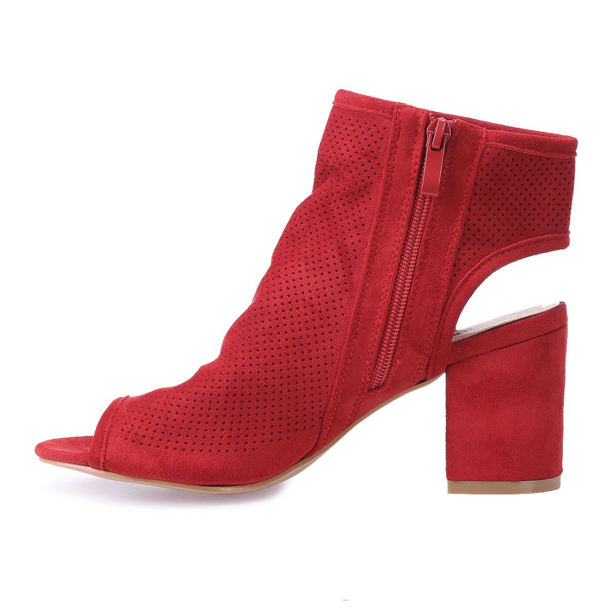 Bottines rouges peep toes en suédine