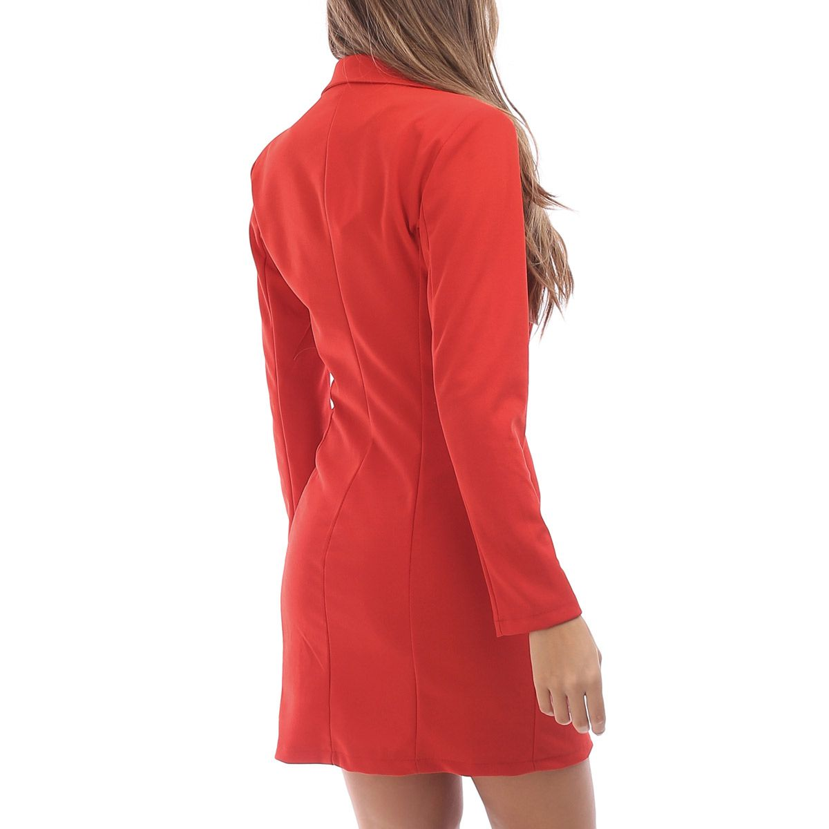 Robe rouge effet blazer avec boutons