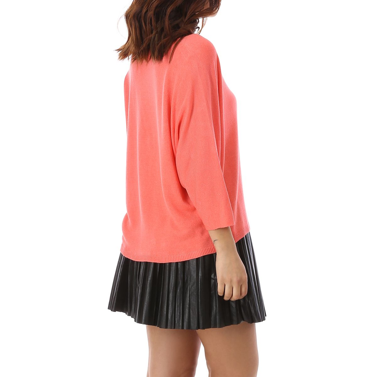 Pull court corail oversize