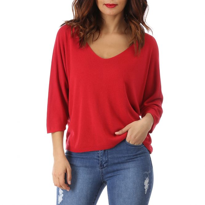 Pull court rouge oversize