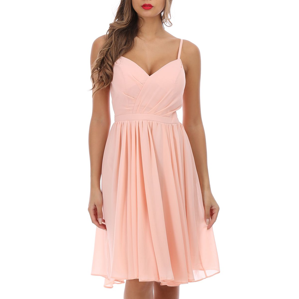 Robe patineuse rose cache-coeur