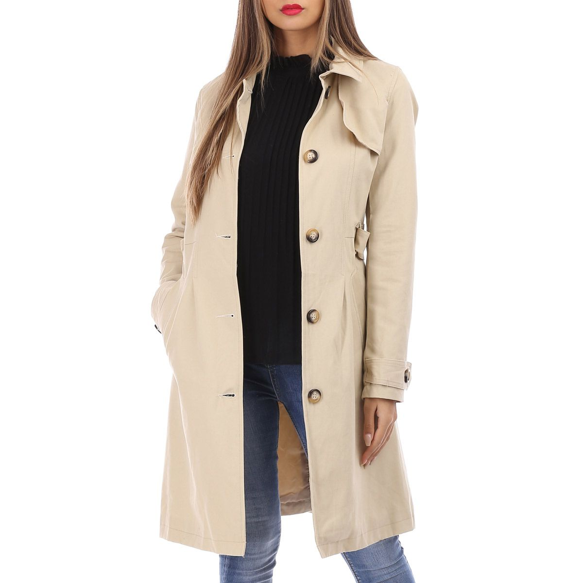 Trench coat mi-long beige