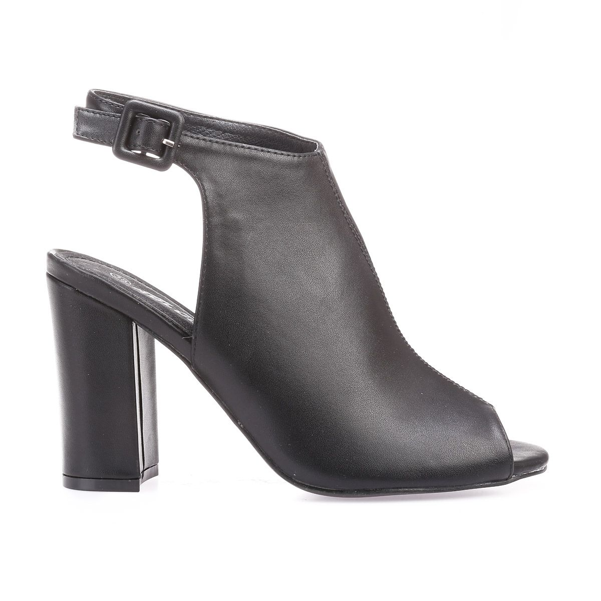 Bottines peep-toes en simili cuir noir