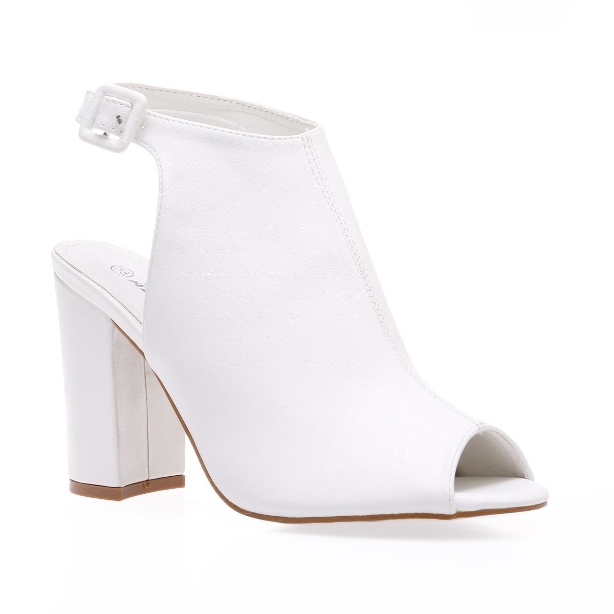 Bottines peep toes en simili cuir blanc