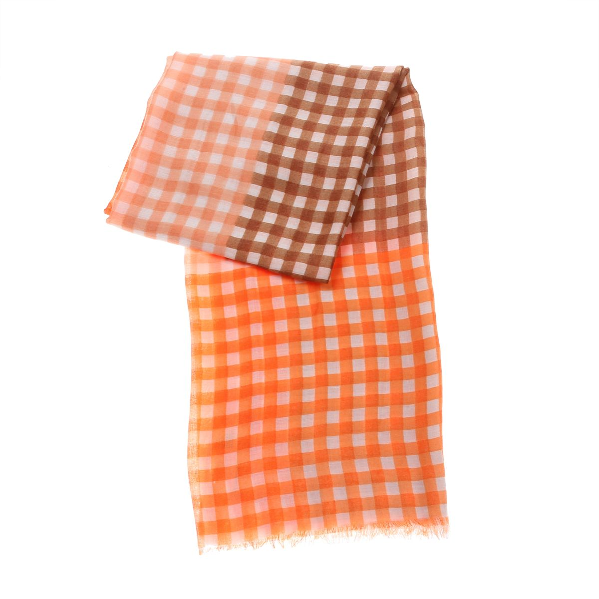 Foulard long à carreaux orange et marron