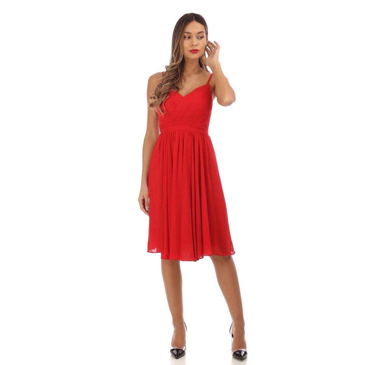 Robe patineuse rouge drapée
