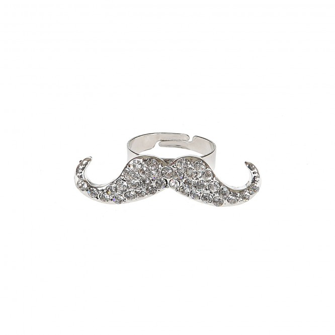 Bague moustache strass