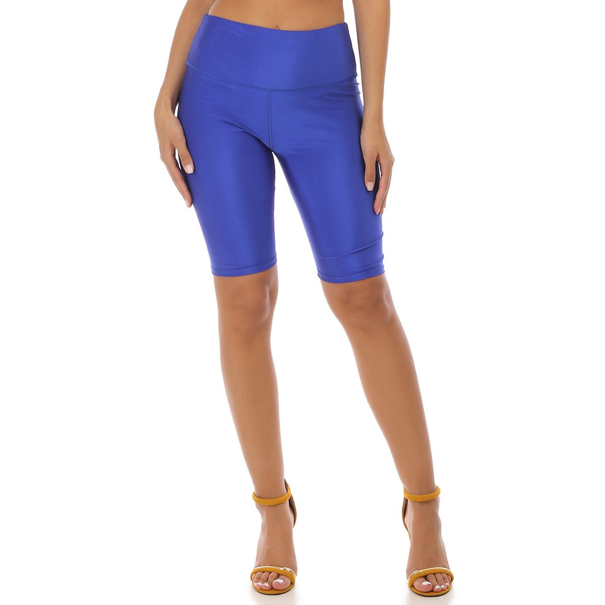 Legging court bleu satiné