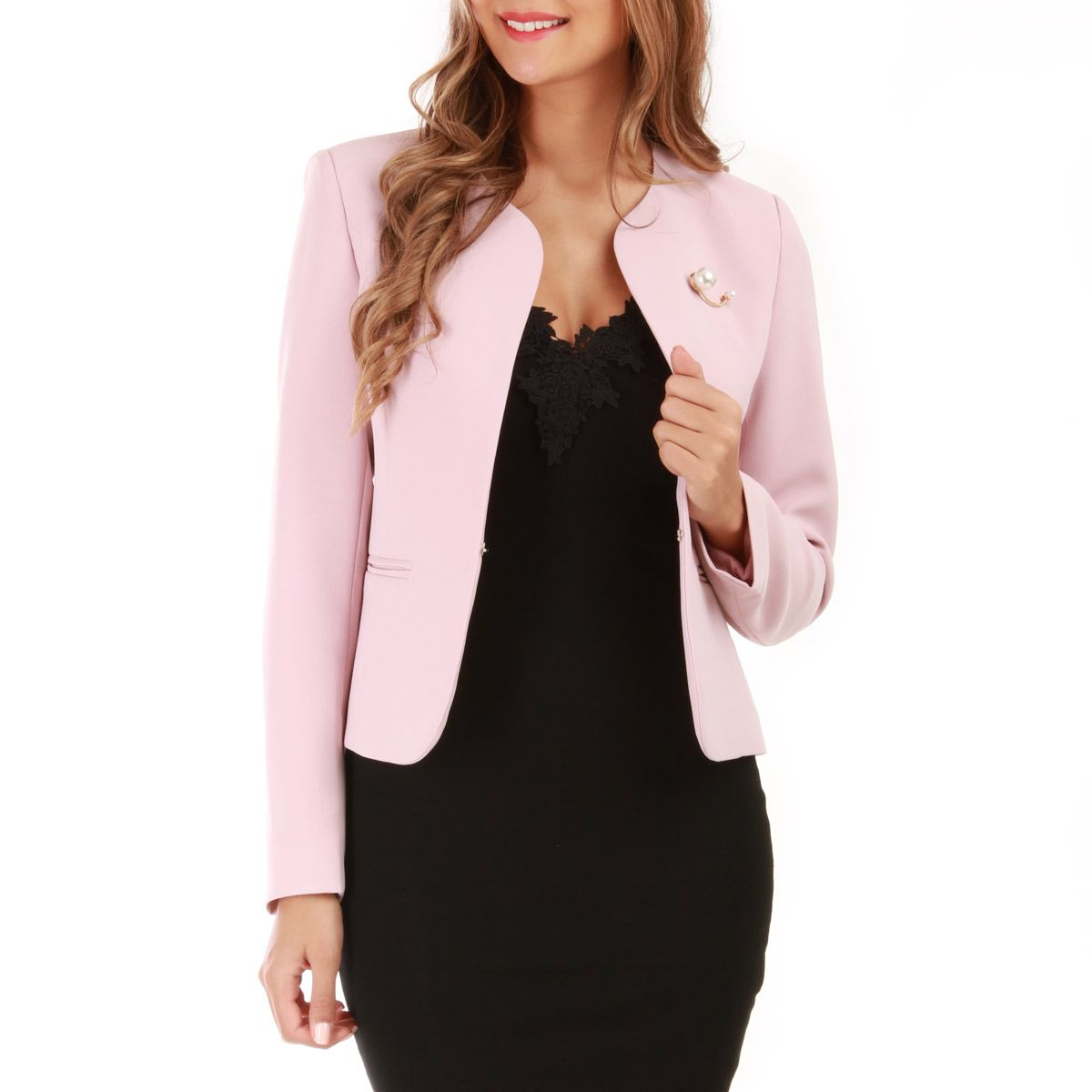 wholesale dealer 72112 651a6 Veste blazer rose à col rond