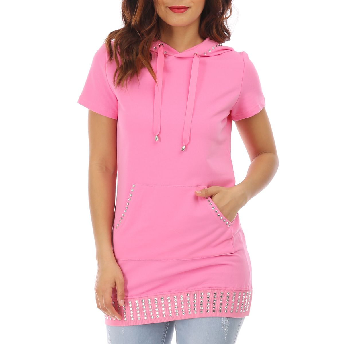 Sweat rose manches courtes avec strass