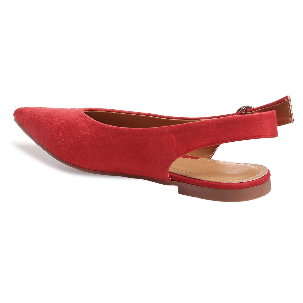 Ballerines rouges pointues à boucle