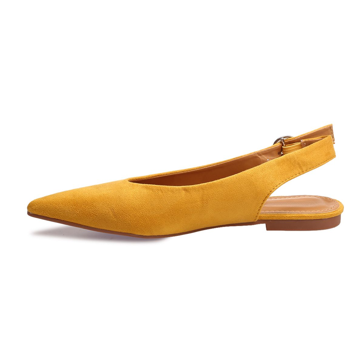 Ballerines jaune moutarde pointues à boucle