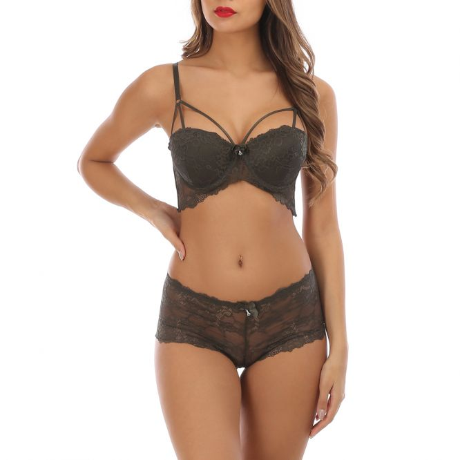 Ensemble lingerie kaki shorty à dentelle