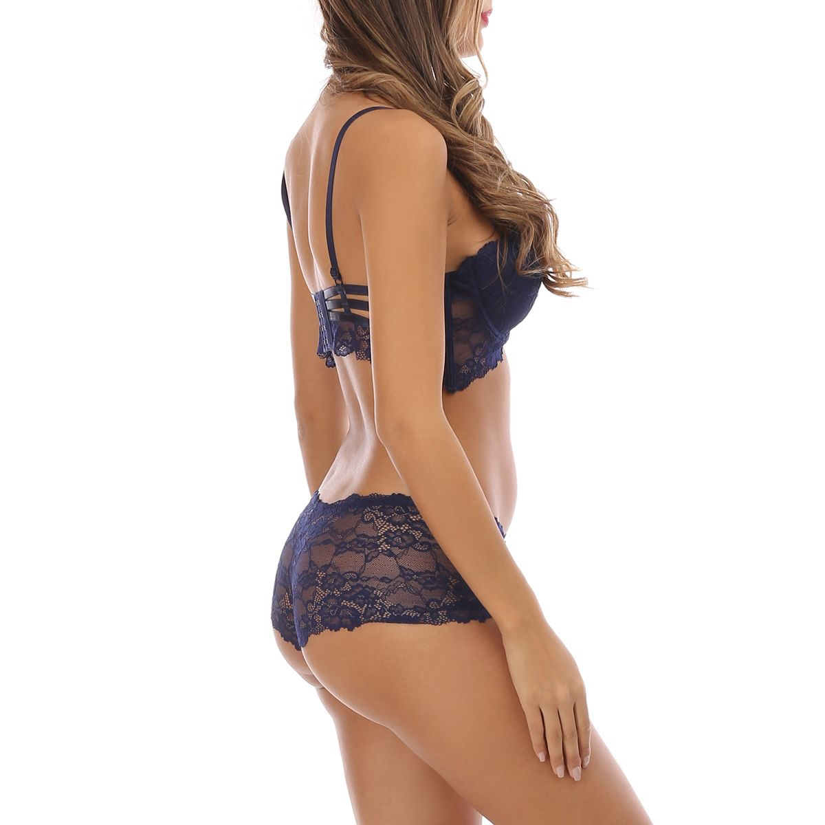 Ensemble lingerie bleu marine shorty à dentelle