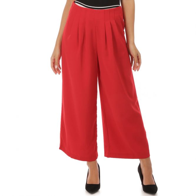 Pantalon large rouge à plis souples
