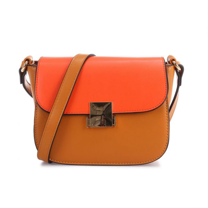 Sac bicolore camel et orange