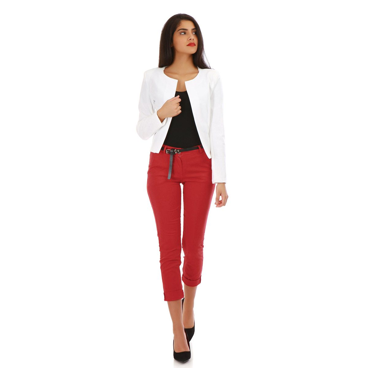 Pantalon slim rouge uni