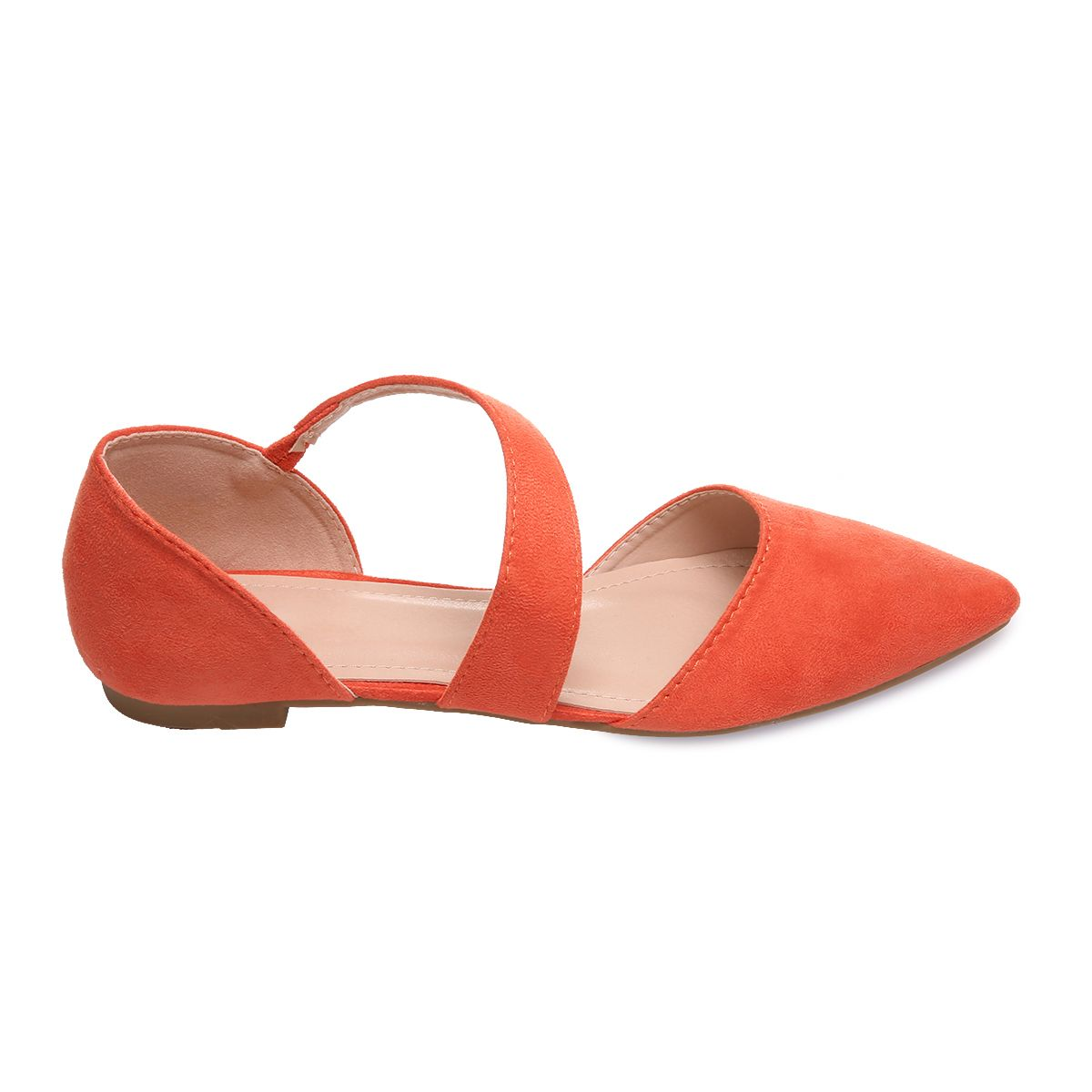 Ballerines orange à bride et bout pointu