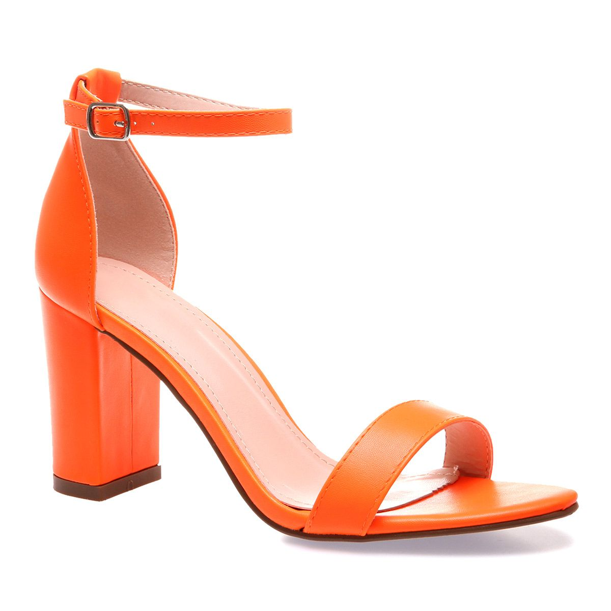 En Simili Sandales Fluo Orange Cuir I7gbfvYym6