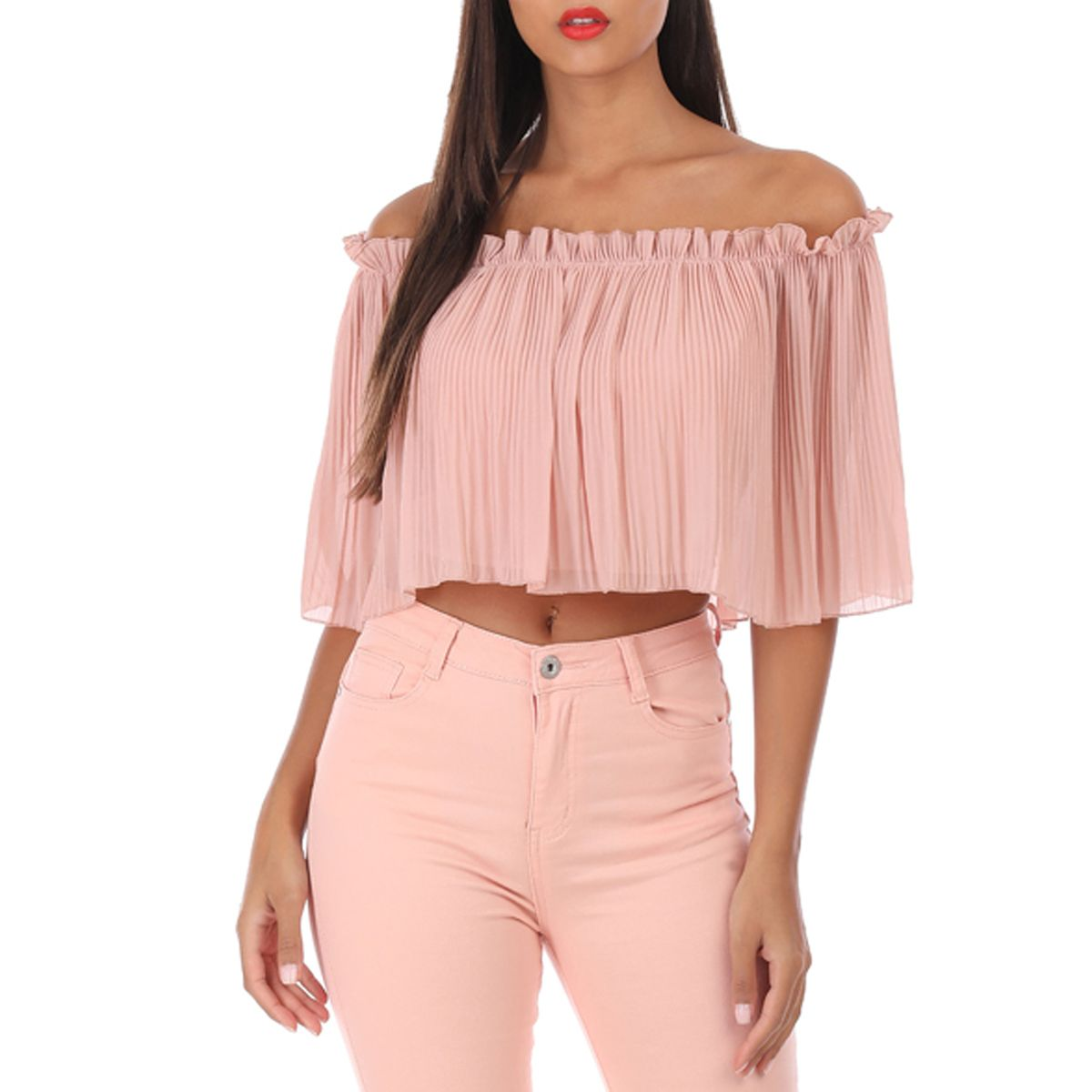 Crop top plissé rose