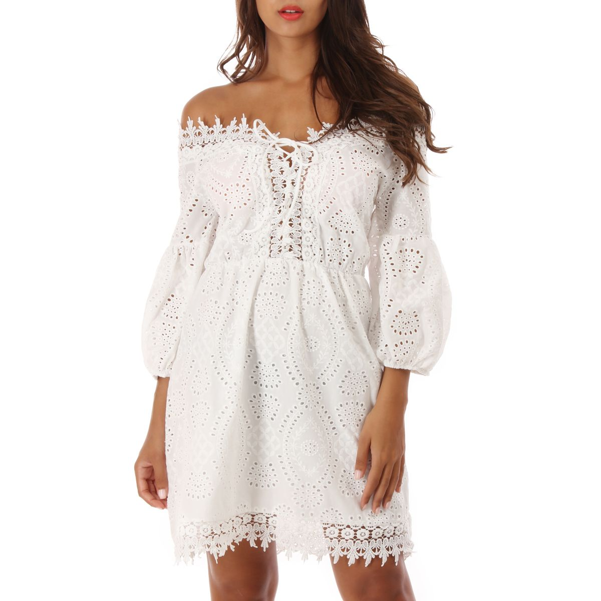 Crochet Broderie Et À Anglaise Robe Blanche thsdQr