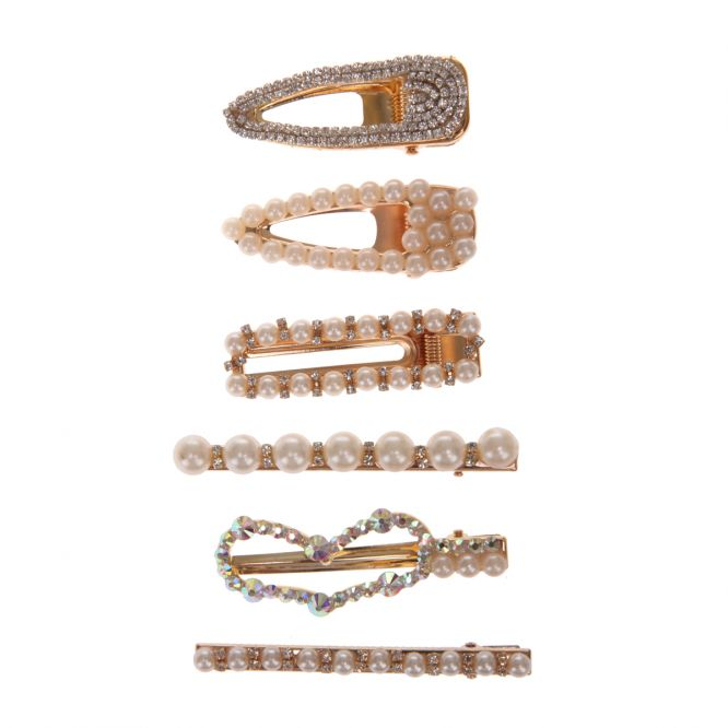 Lot de 6 barrettes brillantes