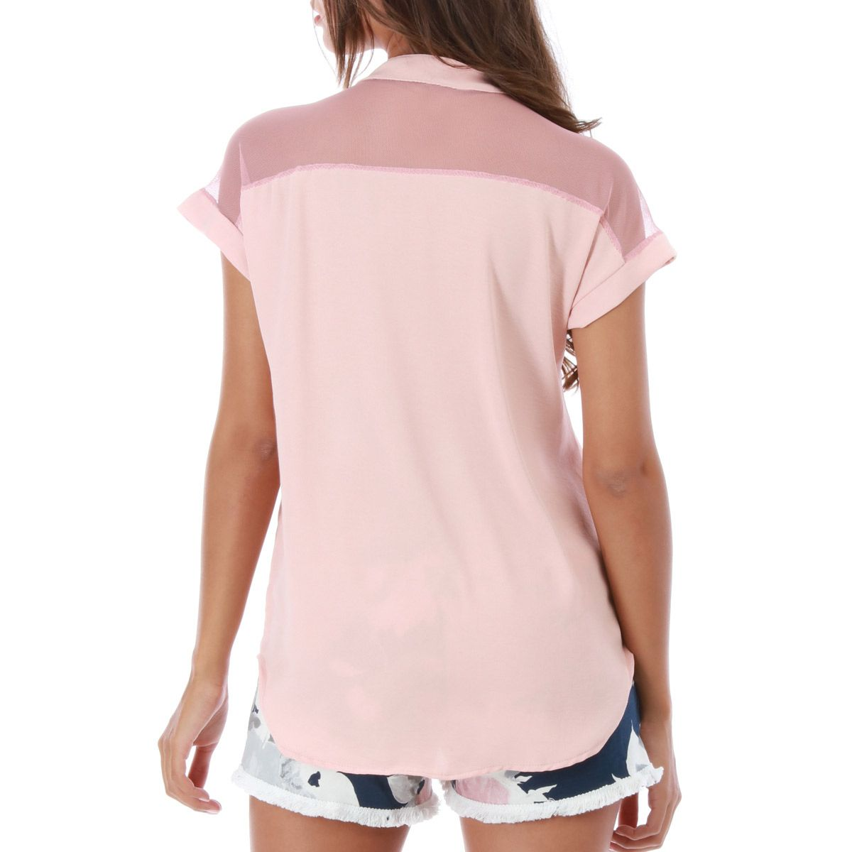 Blouse sporty rose manches courtes