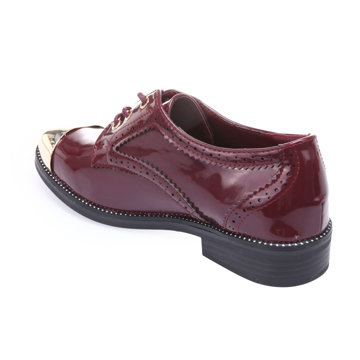 Derbies bordeaux vernis à bout doré