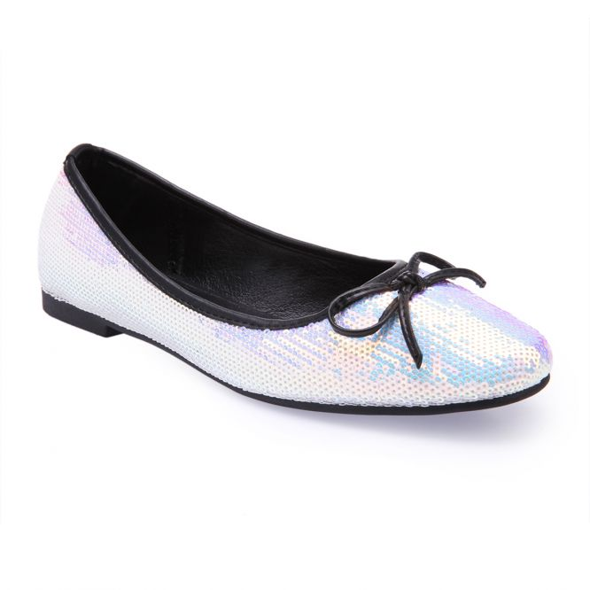 new collection super cheap top design Ballerines blanches à sequins...