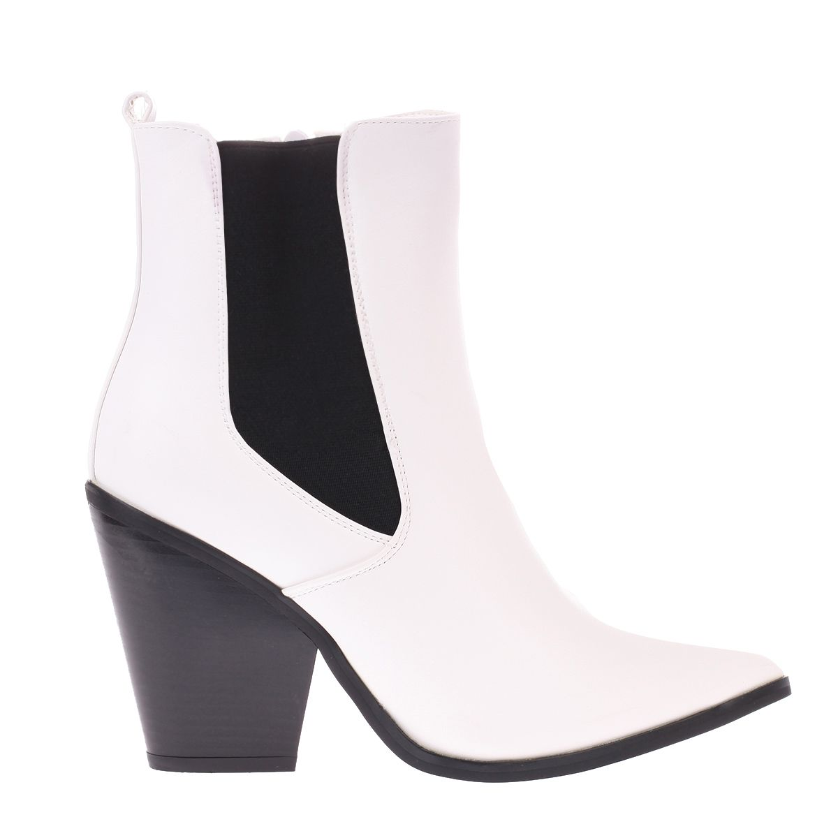 Bottines blanches style western à bout pointu