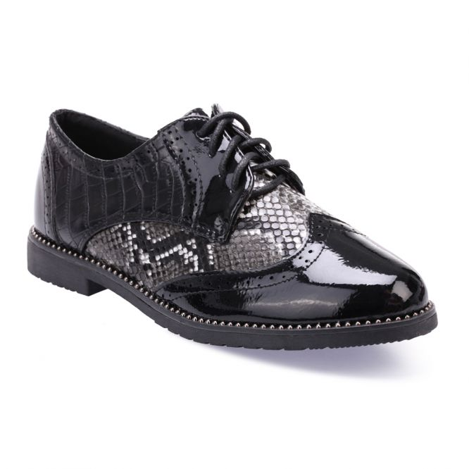 Derbies noires à empiècement python